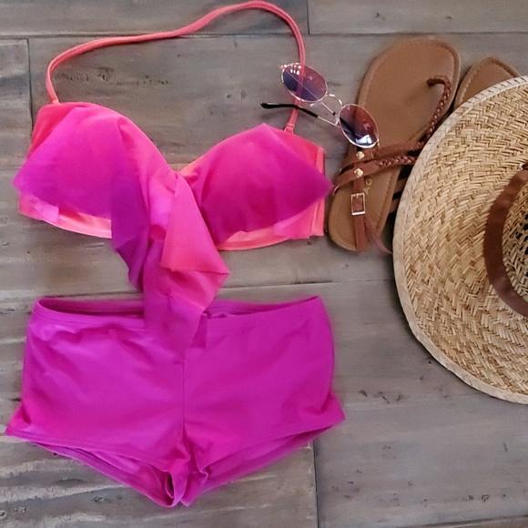Raisins Other - Raisins Bikini Top Hot Pink Orange M